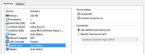VMWare player, soundcard