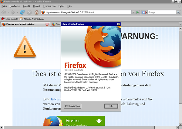 Firefox version 2