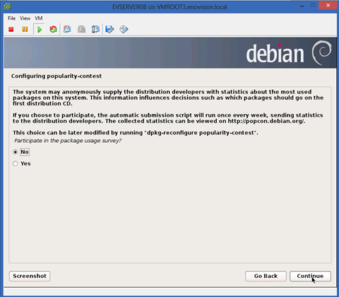 installation of Debian 7 on VMware